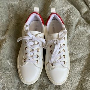 Kendall & Kylie white and red platform sneakers